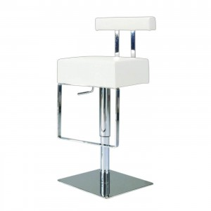 0812 Pneumatic Gas Lift Adjustable Height Swivel Stool, White by Chintaly Imports