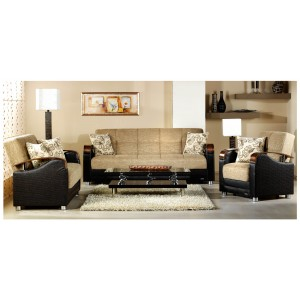 Luna Living Room Set (Sofa + Loveseat + Armchair) Fulya L. Brown by Sunset (Istikbal) Furniture