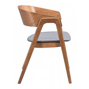 Alden Dining Arm Chair, Walnut & Dark Gray by Zuo Modern