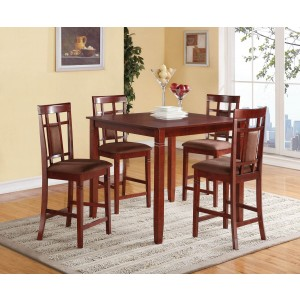 Sonata Microfiber/Wood Counter Set (Table + 4 Stools) by ACME