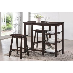 Nyssa Wood/Wood Veneer Counter Set (Table + 2 Stools) by ACME