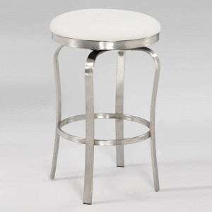 1193 Modern Backless Counter Stool, White by Chintaly Imports
