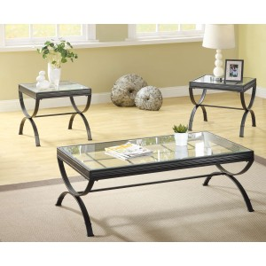 Claro Glass Occasional Table Set (Coffee Table + 2 End Tables)