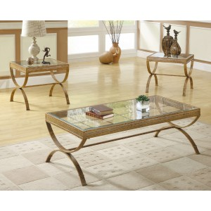 Claro Glass Occasional Table Set (Coffee Table + 2 End Tables) by Homelegance