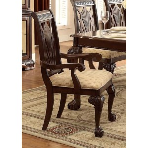 Norwich Leg Classic Fabric/Wood Dining Arm Chair by Homelegance
