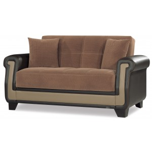 Proline Fabric Convertible Loveseat, Brown by Casamode