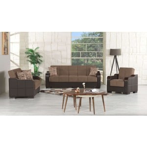 Uptown Living Room Set, Brown Fabric by Casamode