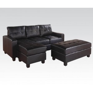 Lyssa Sectional w/Ottoman, Left Arm Facing, Black by ACME