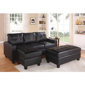 Lyssa Sectional w/Ottoman, Left Arm Facing, Black by Acme Furniture