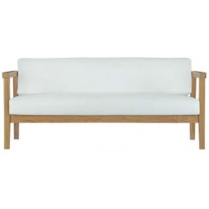 Bayport Outdoor Patio Teak Sofa, Natural/White by Modway Furniture