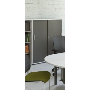 Standard 4OH Medium Office Storage Unit w/2 Sliding Doors, Height 58 1/4'' by MDD Office Furniture