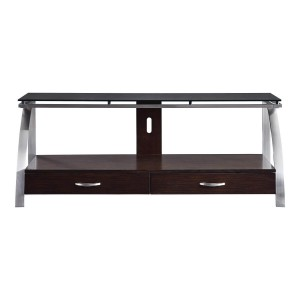 Tioga Wood/Stainless Steel TV Stand by Homelegance