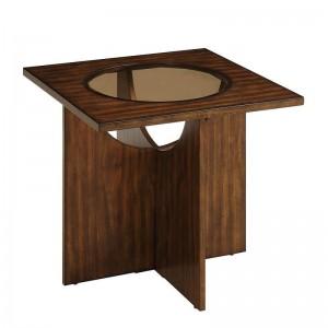 Akita Glass/Wood Veneer End Table by Homelegance