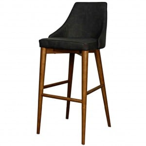 Erin PU Counter Stool, Walnut Legs, Antique Grey by NPD (New Pacific Direct)