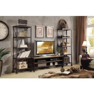 Millwood Wood Veneer/Metal Entertainment Set by Homelegance