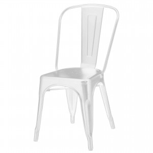 Metropolis Metal Side Chair, Frosted White by NPD (New Pacific Direct)
