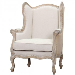 Guinevere Wing Arm Chair, Brushed Smoke Frame, Light Sand/Burlap by NPD (New Pacific Direct)