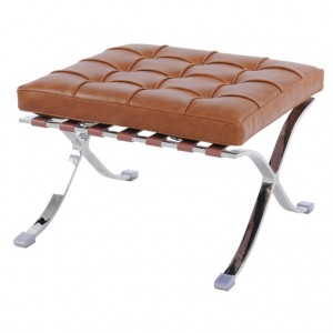 Barca PU Ottoman, Stainless Steel Frame, Distressed Caramel by NPD (New Pacific Direct)