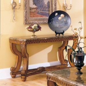 Tarantula Marble Console Table by Homelegance
