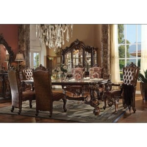 """Versailles PU/Fabric/Wood 120""""L Dining Set by ACME"""
