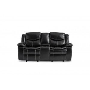Bastrop Leather Gel Match Double Glider Reclining Love Seat w/Console by Homelegance