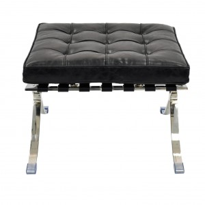 Barca PU Ottoman, Stainless Steel Frame, Distressed Black by NPD (New Pacific Direct)