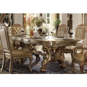 Dresden Wood/PU/Fabric Dining Set by ACME
