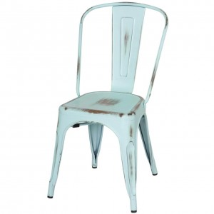 Metropolis Metal Side Chair, Distressed Blue by NPD (New Pacific Direct)