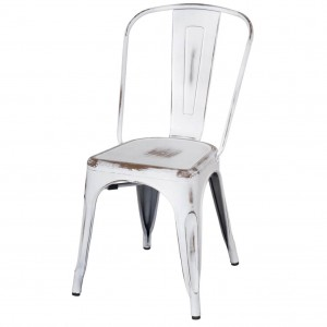 Metropolis Metal Side Chair, Distressed White by NPD (New Pacific Direct)