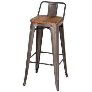 Metropolis Low Back Bar Stool, Wood Seat, Gunmetal by NPD (New Pacific Direct)