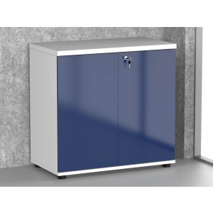 Gloss 2OH Low Office Storage Unit, High Gloss Blue by MDD Office Furniture