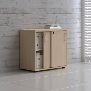 Standard 2OH Low Office Storage Unit w/2 Sliding Doors, Height 29 1/8'' by MDD Office Furniture
