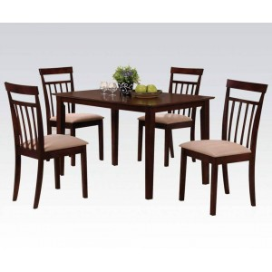Samuel Microfiber/Wood Dining Set (Table + 4 Chairs) by ACME