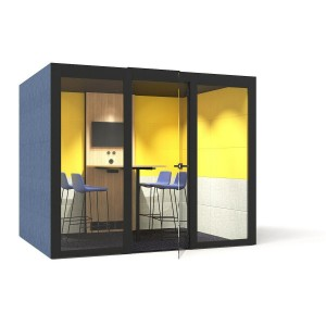 L Large Meeting Soundproof Acoustic Office Pod with Fabric Walls, Glass Door by NARBUTAS