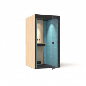 S Small Soundproof Acoustic Phone Office Booth with Melamine Walls, Glass Door by NARBUTAS
