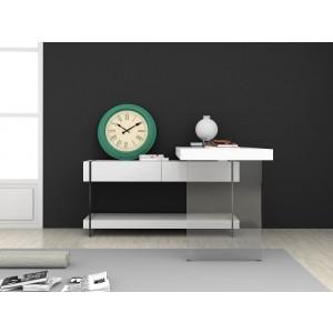 Cloud Modern High Gloss/Glass Office Desk w/Storage Drawers by J&M Furniture
