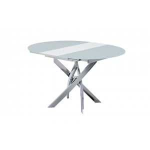 2303 Modern Round Glass Extendable Dining Table by ESF Furniture