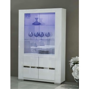 Elegance Modern 2-Door China Cabinet w/Light by Status, Italy