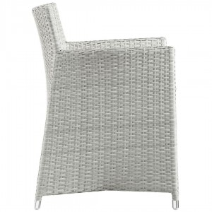 Junction 5 Piece Outdoor Patio Synthetic Rattan Weave Wicker Dining Set, Gray/White by Modway Furniture
