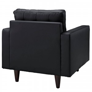Empress Leather Armchair, Black by Modway Furniture