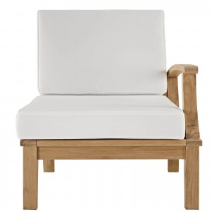 Marina Outdoor Patio Teak Left-Arm Sofa, Natural + White by Modway Furniture
