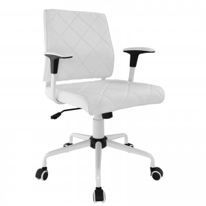 Lattice Vinyl Office Chair, White by Modway Furniture