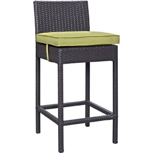 Lift Outdoor Patio Synthetic Rattan Bar Stool (Set of 2), Espresso/Peridot by Modway Furniture