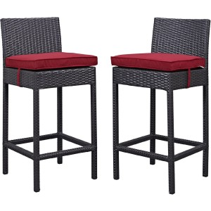 Lift Outdoor Patio Synthetic Rattan Bar Stool (Set of 2), Espresso/Red by Modway Furniture