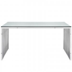 Gridiron A Stainless Steel Dining Table by Modway Furniture