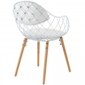 Basket Dining Metal Armchair, White by Modway Furniture