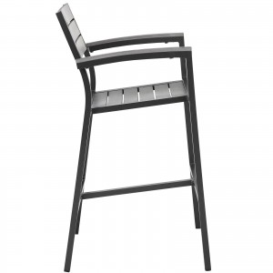 Maine Outdoor Patio Bar Stool, Brown + Gray by Modway Furniture