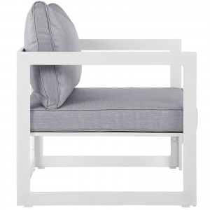 Fortuna Outdoor Patio Armchair, White + Gray by Modway Furniture