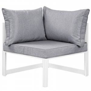Fortuna Corner Outdoor Patio Armchair, White + Gray by Modway Furniture