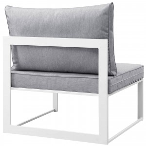 Fortuna Outdoor Patio Armless Chair, White + Gray by Modway Furniture